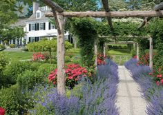 Rustic looking arbor, stone path, and lavender