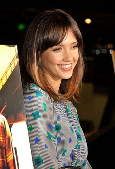 Jessica Alba Hair ombre, mid length style with fringe
