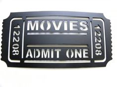 Movie Ticket 2FT Home Theater Decor Movies Admit One Metal Wall Art Black by sayitallonthewall on Etsy https://www.etsy.com/listing/107950663/movie-ticket-2ft-home-theater-decor