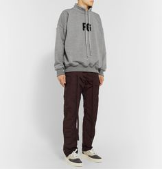 Fear Of God Oversized Logo-appliquÉd Loopback Cotton-blend Jersey Sweatshirt In Grey/black High Fashion, Mens Fashion, Hoodies, Sweatshirts, Creative Director, Sweatpants, God, Men's Style, Cotton