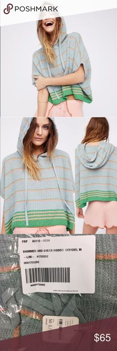 Free People Shimmer and Sheen Hoodie Easy knit hoodie featuring a striped design with shimmering metallic threads throughout for a femme touch. Perfect for summer nights!  49% Cotton, 19% Rayon 18% Metallic 14% Polyester Hand Wash Cold or Dry Clean ///// NWT - New in plastic packaging! SIZE M/L Free People Tops Sweatshirts & Hoodies
