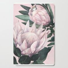 Protea Pink Background Cutting Board