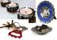 recycled bicycle parts made into really cool gifts and decor
