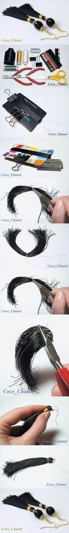 DIY Simple Thread Tassel Earrings