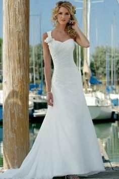 Free shipping! hot sale!New Style dr dre one-shoulder weep train chiffon beach wedding dresses $240.00