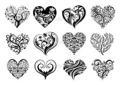 Vintage Flowers Coloring Pages | 12 Tattoo hearts — Stock Illustration © Анастасия ...