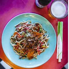 """- Yaki Udon - from Tim Anderson's """"Nanban"""" a japanese stir fry with bacon, load of veggies, pickled and thick udon noodles.."""