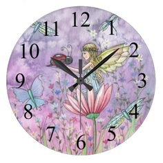 Fantasy art wall clock for little girls, perhaps. A Friendly Encounter Fairy and Ladybug Clock for the home, kids bedroom