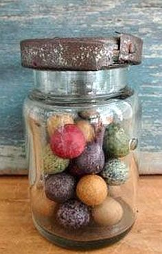 Early Glass Jar with Civil War Era Marbles.