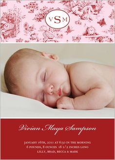 French Toile Scarlet Birth Announcement