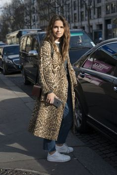 Miroslava Duma's leopard coat is spot-on for spring - we love how she finished it with simple white sneakers. Click for more spring outfit ideas!