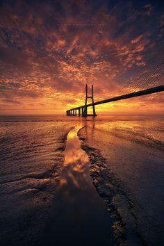 "Bridge ""Vasco da Gama"" in Lisbon, Portugal by Nuno Mota"
