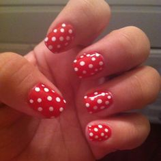 My poka dot nails :-D inspired by Minnie mouse I won't lie lol
