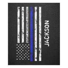 Serve. Honor. Protect Thin Blue Line Flag Fleece Blanket