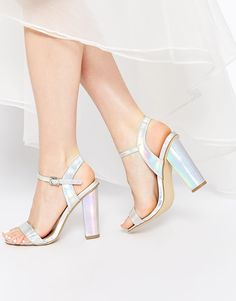 Image 1 of New Look Revival Silver Holographic Barely There Heeled Sandals