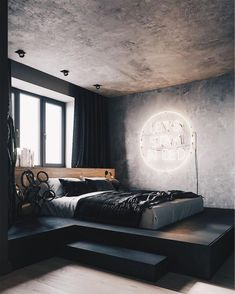 Industrial Apartment Inspiration // Loft Interior The Perfect Scandinavian Style Home Industrial Bedroom Design, Modern Bedroom Design, Home Room Design, Home Interior Design, Bedroom Designs, Industrial Apartment, Contemporary Bedroom, Kitchen Interior, Industrial Style