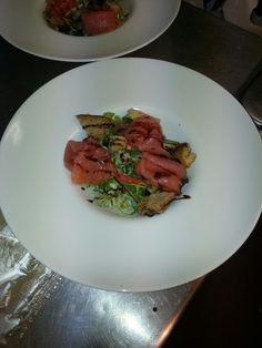The smoked salmon salad, with garlic and herbed croutons