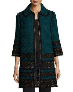 3/4-Sleeve+Lace-Trim+Tweed+Coat,+Bottle+Green+by+Andrew+Gn+at+Bergdorf+Goodman.