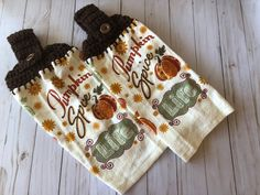 Excited to share this item from my #etsy shop: 2 Pumpkin Spice kitchen towels, Pumpkin spice Life top kitchen towels, Fall Pumpkin Towels, Fall towels, Fall decor, Fall Kitchen towels