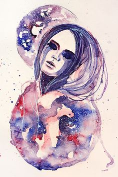 """Lacrima Nebula"" - watercolour portrait by Alexandra-Emily Kokova"