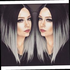43.00$ Watch here - http://ali3ft.worldwells.pw/go.php?t=32779830054 - Fashion Women Popular Ombre Grey Bob Wig Black and Gray Lace Front Wig Short Grey Bob Wigs Synthetic Bob Heat Resistant Wigs 43.00$