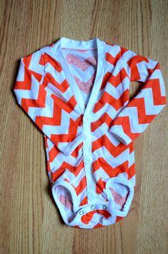 Orange Chevron Cardigan Onesie - Size 3-6 Months #swapdom