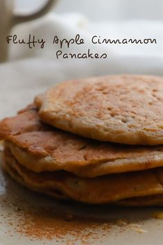 These fluffy apple cinnamon oat pancakes are so easy to make and incredibly delicious! If you love apple cinnamon but are not in the mood for chopping and peeling apples, this recipe is for you! #vegetarian #applecinnamon #oatpancakes Oat Pancakes, Fluffy Pancakes, Oat Flour, Apple Cinnamon, Melted Butter, Vegetarian, Mood, Baking, Breakfast