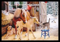 Artwork by Kathy Goff. Inside greeting - see pictures for inside greeting. One single unused greeting card with one envelope. Condition new. Christmas Farm, Christmas Horses, Horse Artwork, Animals Amazing, Cat Dog, Animal Paintings, Doge, Art And Architecture, Shoulder Handbags