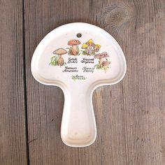 Vintage Ceramic Mushroom Spoon Rest, Avon Fungi Plate Decoration on Etsy, $10.00
