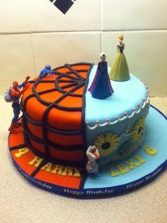 Frozen Fever & Spiderman cake