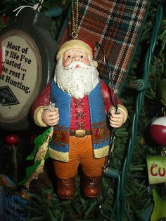 FISHING SANTA GREAT LODGE LOOK COAT ON SANTA CHRISTMAS TREE ORNAMENT Another neat item just listed on eBay by pjgal2000, Pam Jones of Barn Raising Antiques!