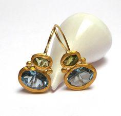 Blue Topaz Earrings Gold Earrings 24 K Solid Gold Earrings Peridot Earrings, Tourmaline Earrings, Gemstone Earrings, Women's Earrings, Diamond Earrings, Topaz Jewelry, Blue Topaz Stone, Greek Jewelry, Jewels