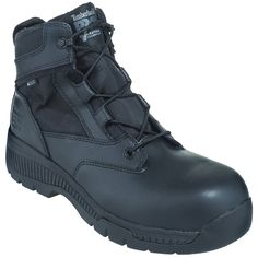 Timberland Pro Boots Men's TB01162A 001 Black Duty General Toe EH 6-Inch Side-Zip Boots