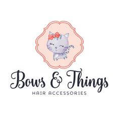 Premade Logo - Kitty & Bow Premade Logo Design - Customized with Your Business Name!
