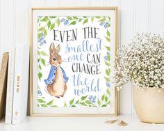 Peter Rabbit Nursery Prints, Baby Shower, Beatrix Potter, Nursery Wall Art, Nursery Decor, Peter Rabbit Print, Beatrix Potter Nursery quote