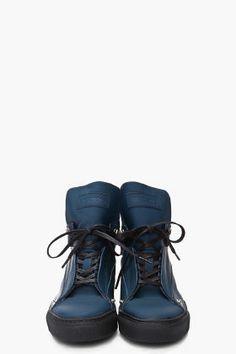 RAF SIMONS   Navy High Top Sneaker 4bcf5af00