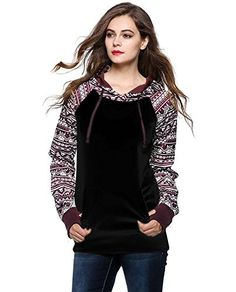 Bluetime Womens Fall Winter Long Sleeve Floral Print Pullover Hoodie Sweatshirt ** To view further for this item, visit the image link.
