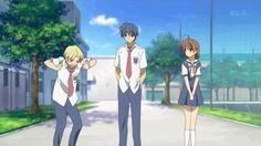Sunohara, Tomoya, Nagisa, exercise, funny, gif; Clannad