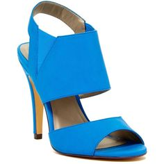 Michael Antonio Loop Peep Toe Heel ($30) ❤ liked on Polyvore featuring shoes, pumps, blue, peeptoe pumps, blue shoes, blue pumps, peep toe slingback and peep-toe pumps