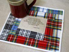 John 5:24 Scripture Mug Rug/Bible Verse Mini Quilt