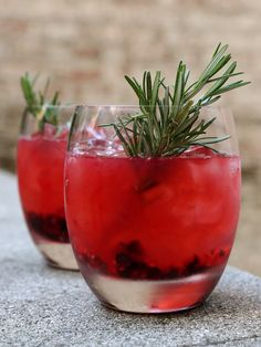 Seasonal Berries Star in This Go-To Summer Libation ~ This is my homage to Norwegian forests, where we pick berries. Rosemary adds a piney note. The drink is very easy: Just muddle the berries and rosemary together and pour the other ingredients on top.
