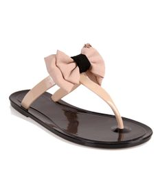Black & Tan Bow Jelly Sandal