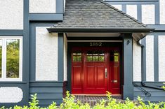 Red Front Door in Farrow & Ball Incarnadine 248. Colour consultation and exterior painting by Warline Painting Ltd. of Vancouver, Canada