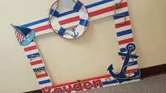Nautical Themed photo Frame x assembly required (only the square part of it) all decorations will be adhere. 3rd Birthday Parties, Birthday Party Decorations, Sailor Birthday, Sailor Theme, Photo Frame Prop, Christmas Crafts For Kids To Make, Nautical Party, Baby Boy Shower, Etsy