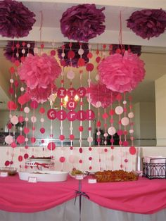 It's a girl baby shower decor - love the pom poms with the polka dot back drop.