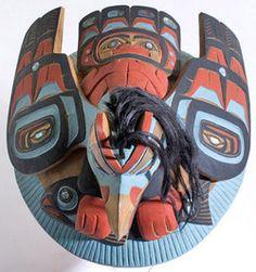 Carving; Kwakiutl, Lelooska (Don), Chief's Hat, Cedar, 16 inch.