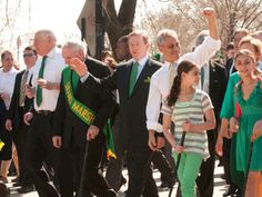 Prime Minister of Ireland Enda Kenny, center, and Rahm Emanuel, center right, lead the St. Patrick's Day parade Saturday, March 17, 2012, in Chicago. To the far left is Illinois Gov. Pat Quinn.