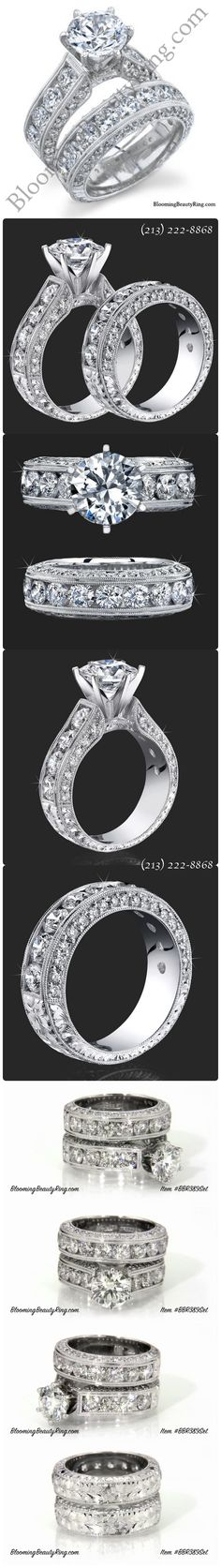 "(Click on the picture to see this ring in HD video on our website)    This hand-made engagement ring set is almost beyond description!    Each ring has over 2 carats of top quality ""accent diamonds"" alone!  Pictures show a 2 carat center stone making the rings = 6.10 ctw.    (Queen Elizabeth herself would be jealous!!)  (213) 222-8868  BloomingBeautyRing.com"