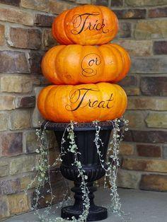 trick or treat tiered pumpkins