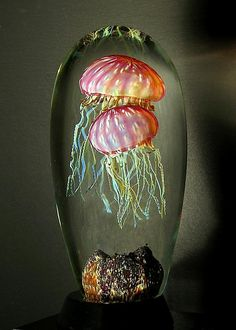 Gold Ruby Double Jellyfish Glass Art